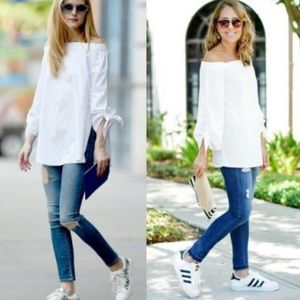 J.O.A. White off the shoulder tie blouse